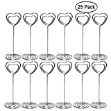 Aniann Table Number Card Holders, 25 Pack Heart Shape Table Photo Holder Table Picture Stand Place Card Holder for Wedding Party Gatherings Office Desk Paper Menu Clips (Silver)