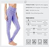 QUEENIEKE Yoga Leggings mit Tasche Klassische Bauchkontrolle Mittlere Taille Laufhose Workout Sporthose für Damen Farbe Blau/Weiß Space Dye Größe XS(0/2) - 6