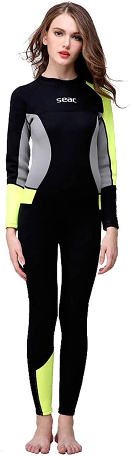 ZUKN Women's Wetsuits, 3MM Neoprene Full Body Diving Suit Long Sleeve Sunblock Siamese Swimwear for Scuba Surfing Snorkeling Water Sport Equipment