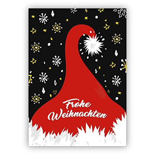 Grappige retro kerstkaart met kerstman muts: Vrolijk Kerstmis • Uitklapkaarten set met enveloppen voor kerstfeest, Nieuwjaar voor familie, vrienden, collega's van de firma 10 Grußkarten