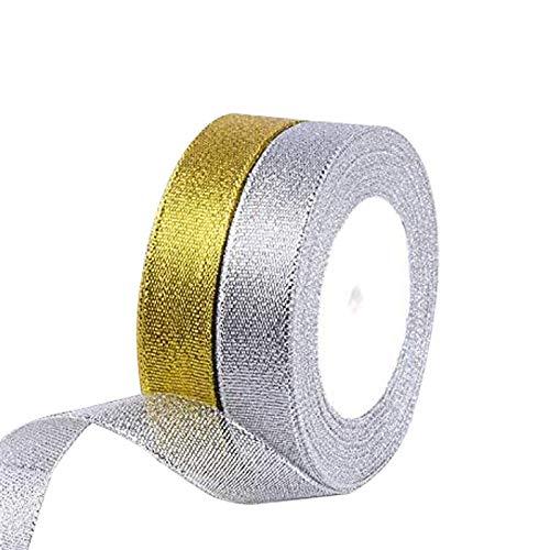FYKERO Silber-goldenes Band zum Verpacken von Geschenken, 2 Stück, 20 mm breit, 23 m lang, Glitzerbänder, Basteln, Weihnachtsbaumschmuck, Schleifen und andere Projekte.