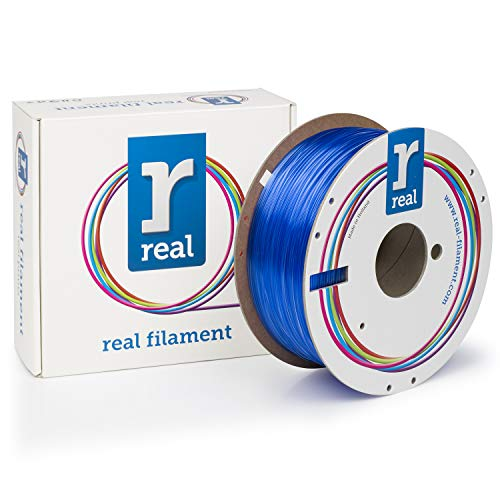 Real Filament 8719128327235 Real PETG, Spool of 1 kg, 1.75 mm, Transparent Blue