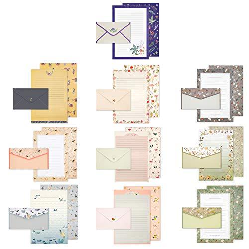 Briefumschlag Briefpapier set,Schreibpapier mit Umschlägen,Briefpapier Motivpapier Schreibpapier Set, 60 blättern Briefpapiere und 30 Briefumschlag, Briefpapier Kinder für Office Home School