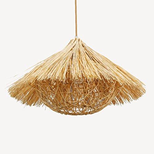 Vintage decoratieve kroonluchter, houten kroonluchter, stro-rotan bamboe-kroonluchter, rieten en bamboematerialen, met een moderne en creatieve persoonlijkheidsstijl, slaapkamer woonkamer keu.