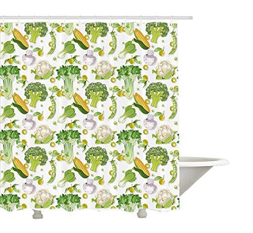 Yeuss Gemüse Duschvorhang, vegetarisches Saatgut Maiskohl Salat Pilz Blumenkohl Olive Grafik, Stoff Badezimmer Dekor Set mit Haken, Limette grüne Perle Creme
