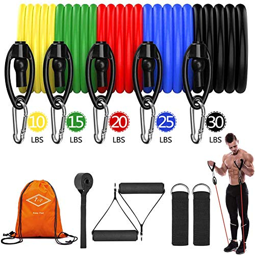 7OP Fitness Resistance Bands Sets 11pcs- 5 Fitness Workout Bands Stackable up to 100 LBS- for Resistance Training, Physical Therapy, Home Workouts, Yoga, Pilates