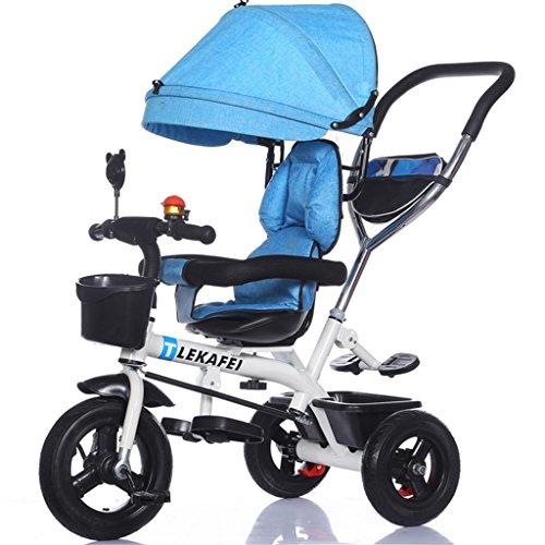 Multifunción 4-en-1 Niño Triciclo Kid Trolley Empuje Mango Stoller Bicicleta con Anti-UV Toldo y Parent Handle | para 1-3-6 años de edad Niño y niña Bebé | Asientos giratorios | Ruedas de aleación de aluminio 3 (bicicleta blanca) ( Color : Azul , Tamaño : B )