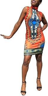 Vestito da Modo delle Donna delle Donna Africane Tradizionale Taglie Comode Stampa del Vestito Senza Maniche Abiti Vintage...