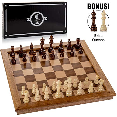 powerful Chess Armory Large Wooden Chess Set Felt Game Board 17inch with Storage