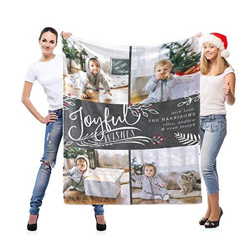 LNM Personalisierte 4 Fotodecke Weiche Decken Geburtstag Hochzeit Geschenk Eigene Bilder für Erwachsenes Baby Haustier,32