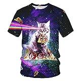 Camiseta Hombre Estampado 3D Creativo Lindo Patrón De Gato Cuello Redondo Manga Corta Vacaciones Ocio Ropa De Calle Holgada Y Cómoda De Verano Hombre T24422 3XL