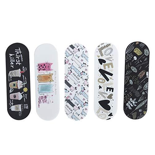 Correa para el dedo del teléfono de 5 piezas con soporte para almohadilla de gel reutilizable, correa para el dedo con soporte ajustable para teléfono inteligente, para todos los teléfonos inteligente