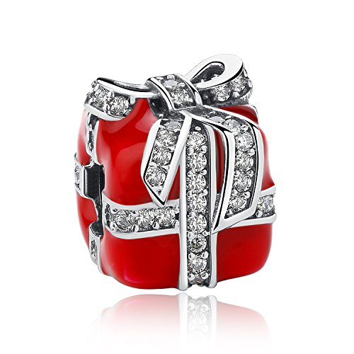 Meetccy Red Enamel Charms for Pandora Charms,Authentic Sterling Silver Charms Beads Christmas Gift Box,Christmas Tree Charm for Women Bracelet Jewellery Mom Daughter Gifts (Gift Box Charms)