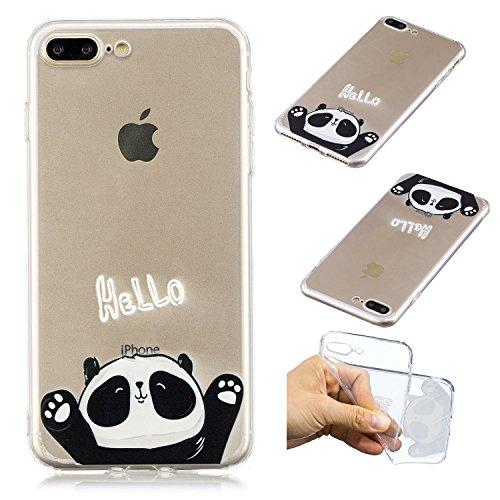 COZY HUT Custodia iPhone 7 Plus / 8 Plus, Cover iPhone 7 Plus / 8 Plus, Panda Trasparente con Disegni TPU Bumper con Protettiva Custodia Posteriore per iPhone 7 Plus / 8 Plus - Ciao Panda