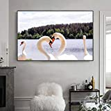 Geiqianjiumai Amantes del Cisne Carteles e impresión Animal Paisaje Familia Pared Arte Lienzo Pintura sin Marco Pintura 60X90cm
