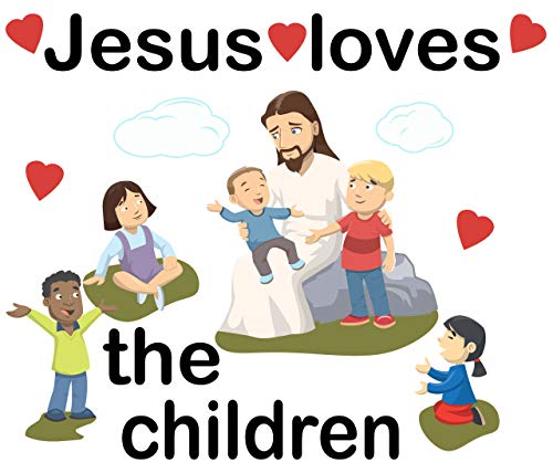 Create-A-Mural Jesus Loves The Children Wall Decals for Church Classroom Decoration Nursery Wall Art Decor Stickers Christian Bible Verse Kids Ministry Room Vinyl Peel n Stick