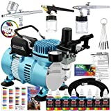 Master Airbrush Professional Cool Runner II Dual Fan Air Compressor Airbrushing System Kit with 6 Primary Opaque Colors Acrylic Paint Artist Set, 3 Airbrushes, Gravity and Siphon Feed - How to Guide