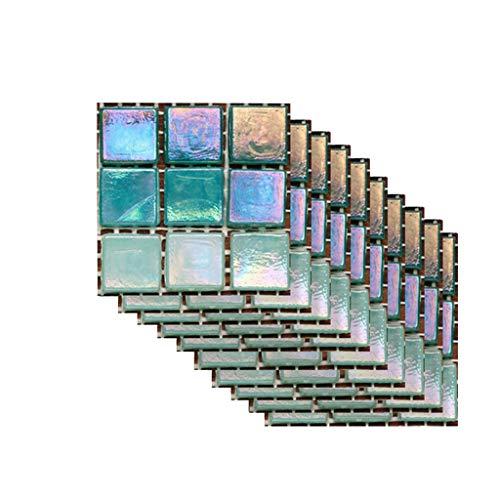 Mosaïque carrelage carrelage autocollant feuille autocollant pour salle de bain cuisine décor 10 pcs auto-adhésif salle de bain cuisine décor maison mur 3D carrelage autocollant (B, 100 * 100 mm)