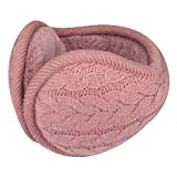 Surblue Unisex Warm Knit Cashmere Winter Pure Color Earmuffs with Fur Earwarmer, Adjustable Wrap,Pink,Large