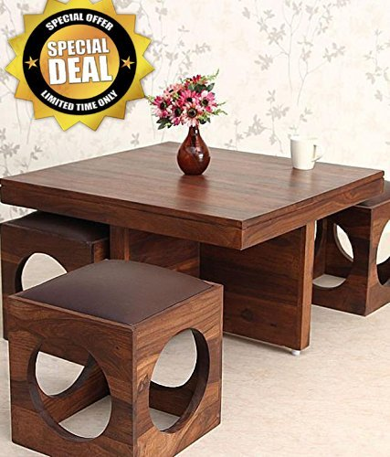 Custom Decor Wooden Coffee Table with 4 Stools for Living R