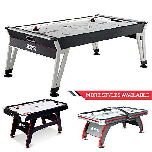Lowest Prices! ESPN Sports Air Hockey Game Table: 84 Inch Indoor Arcade Gaming Set with Electronic O...