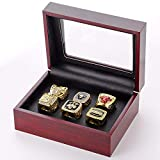 Nine Culture Set of 6 Bulls Championship 1991, 1992, 1993, 1996, 1997, 1998 Replica Ring Size11 Gold Color Collectible Basketball Fan Gift Fashion with A Wooden Box