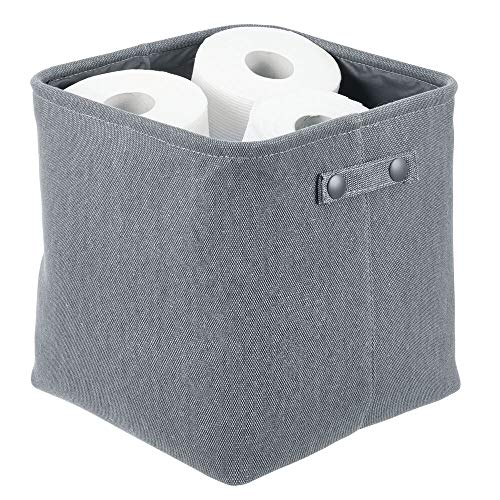 mDesign Soft Cotton Fabric Closet Storage Organizer Bin Basket Storage Organizer for Bathroom - Coated Interior and Attached Handles - Use on Vanity, Cabinet, Shelf, Countertop - Tall - Charcoal Gray