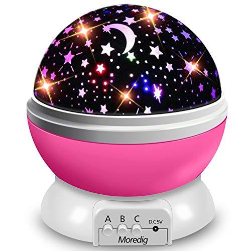Moredig Nachtlicht Sternenhimmel Projektor, Baby Licht 360° Rotation LED Sternenlicht Lampe Sternhimmelprojektor mit 8 Farbige Lichter Projektion, Perfekte Geschenk für Babys & Kinder - Rosa