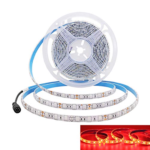 JOYLIT 12V Tiras LED Iluminación Rojo 620-625nm, 5M Flexible 300LEDs SMD5050, IP65 Impermeable Luces LED