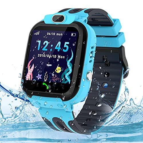 Smartwatch Kinder Uhr Tracker, Wasserdicht Kinder Smartwatch für Jungen und Mädchen, Kids Smart Watch with anruf Funktion und SOS Wecker Sprachchat, Geburtstagsgeschenk für Kinder 3-12ans, Blau