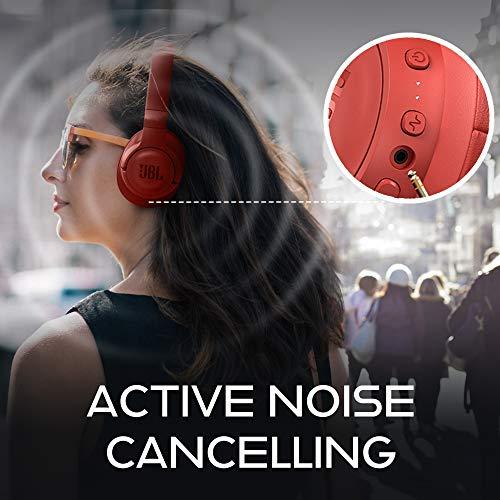 JBL T750BTNC - Auriculares circumaurales inalámbricos con cancelación de ruido activa, conexión multipunto, Bluetooth, rojo