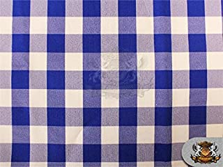 """Poly Poplin Checkered Fabric 10 ROYAL / 58"""" Wide / Sold by the yard"""