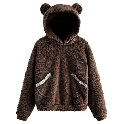 Yue668 - Jersey de manga larga para mujer, diseño de oso cálido, café, 4XL
