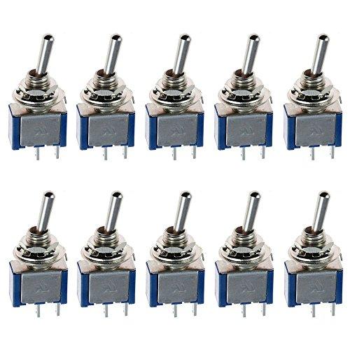Mintice™ 10 Stück Blau Kfz Auto Ein/Aus 2 Polig Mini Kippschalter Instrumententafel Wippschalter