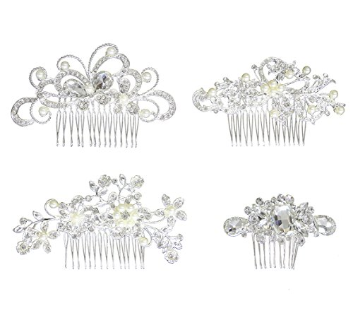 Hair Comb Pack of 4 Bridal Wedding Silver Crystal Rhinestones Pearls Wedding Hair combs Women Side Comb Bridal Head Pin Headpiece