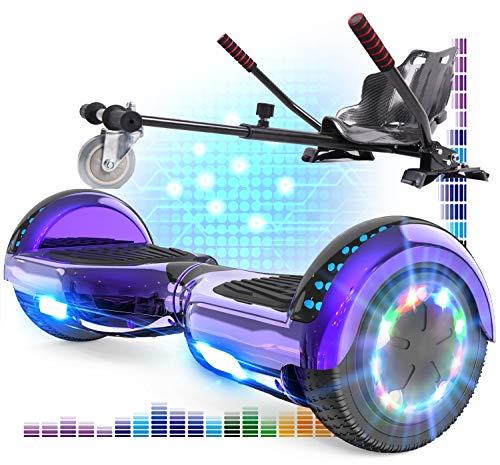 RCB Hoverboard mit Sitz und Hoverkart Set 6,5 Zoll Elektro Skateboard für Kinder Elektroroller mit Bluetooth Roller Bluetooth und LED-Lichtern Solider Sitz Spielzeug für Kinder