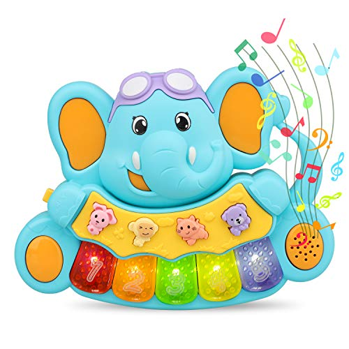 STEAM Life Educational Baby Musical Toy Piano | Light Up Toy Keyboard has 5 Numbered Keys | Plays Songs and Music Memory Game (Smart Baby Elephant Piano)