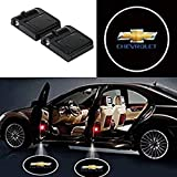 Soondar 2 pcs Universal Wireless Car Projection LED Projector Door Shadow Light Welcome Light Laser Emblem Logo Lamps Kit, No Drilling (For Chevy)