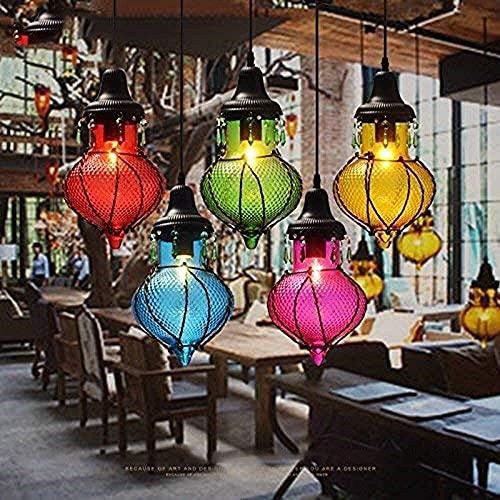 LLLQQQ Lámpara de techo de color retro con personalidad creativa Bar americano, pueblo en el sudeste asiático, lámpara de cristal, bayas azules (color: rosa) (color: azul)