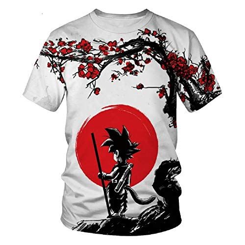 Ginsu Rio Goku Shirt Dragonball Z White Red Great Ape 3D Print Breathable Lightweight (L)