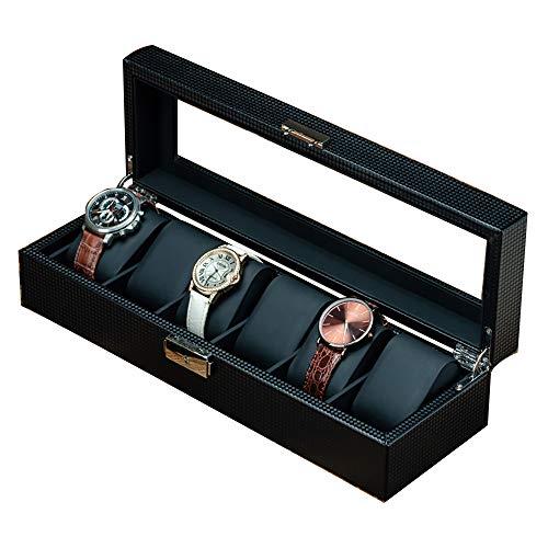 LJJ Caja para Guardar Relojes de Fibra de Carbono, con Tope de Vidrio Exhibidor Hecho,6bits