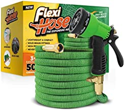 Flexi Hose with 8 Function Nozzle, 50 ft. Lightweight Expandable Garden Hose, No-Kink Flexibility, 3/4 Inch Solid Brass Fittings and Double Latex Core, Green