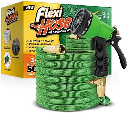 Flexi Hose & 8 Function Nozzle, 50 FT Lightweight Expandable...