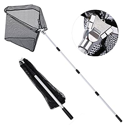 Goture Fly Fishing Landing Net Magnetic Clip Catch Release Trout Net – Aluminum Alloy/Wooden Frame Soft Rubber Mesh from Goture