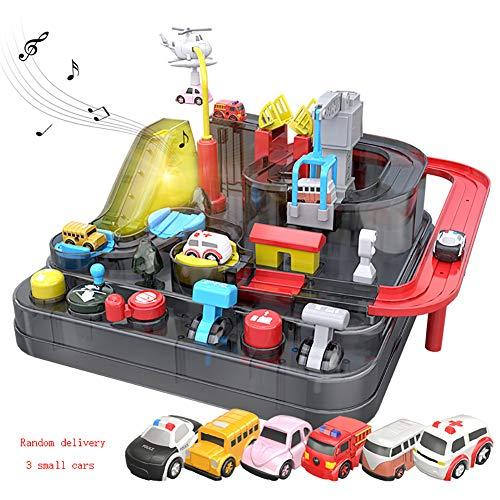 LTTOY Pista Coches Juguetes Circuito Coches Pistas Flexibles con 3 Autos Juego...