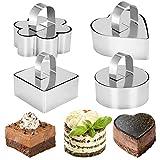 Anyeat Kuchen Ringe, 4-teiliges Set Edelstahl Tortenring Klein, Verschleißfest Lebensmittelqualität Dessertring zum Backbegeisterter Professioneller Bäcker