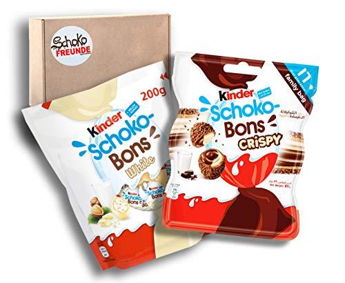 Kinder Schoko Bons Crispy ( 1 x 89g ) – Ferrero Schoko-Bons White ( 1 x 200g ) – Limited Edition – leckeres Kinderschokolade Geschenk – ultimatives Probierpaket für Erwachsene und Kinder
