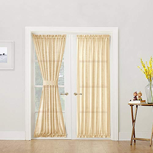 Linen Textured French Door Curtains Privacy Open Weave Sheer French Door Panels 72 inch Length 1 Panel Ivory Tieback Included
