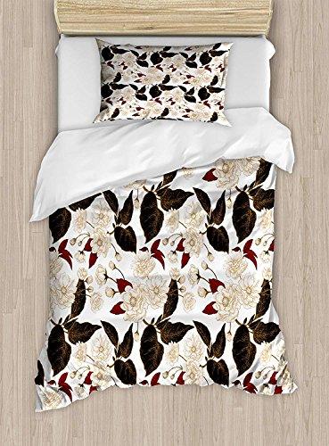 Ensemble de housse de couette double taille florale, motif de fleurs de prunier chinois, motif de bohème zen oriental oriental, ensemble de literie décorative de 2 pièces avec une taie d'oreiller, bei