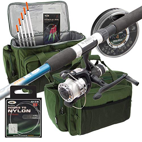 New Travel Starter Fishing Rod & Reel Set Up With Floats Feathers And Rod...